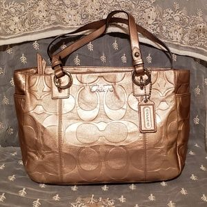 Gallery Embossed Metallic Zip Gold Leather Tote
